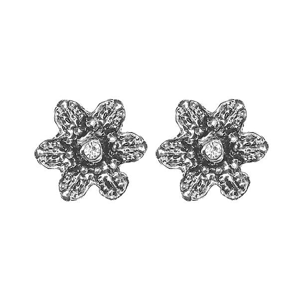 Kriaa Silver Plated Austrian Stone Stud Earrings - 1501350
