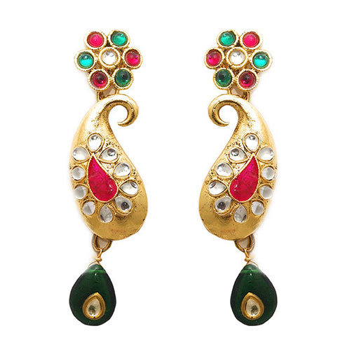 Kriaa Gold Plated Kundan Dangler Earrings