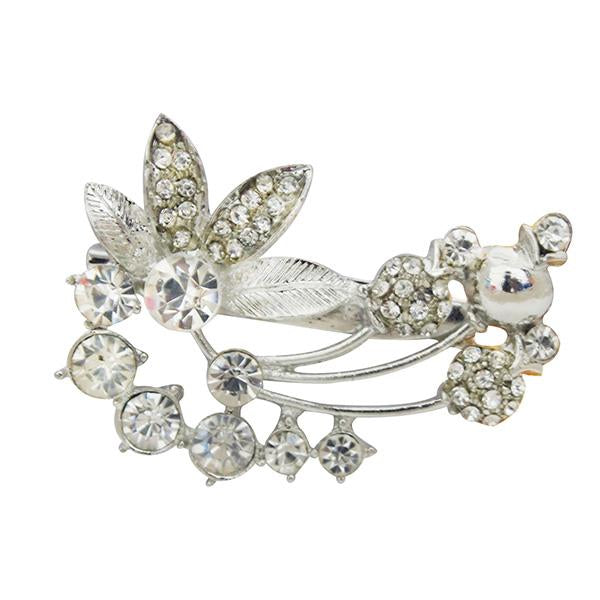 Kriaa Silver Plated White Austrian Stone Saree Pin Brooch - 1501375