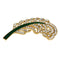 Kriaa Gold Plated White Austrian Stone Leaf Saree Pin Brooch - 1501383