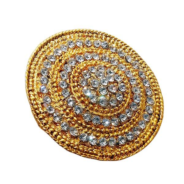 Kriaa Gold Plated White Austrian Stone Saree Pin Brooch - 1501384