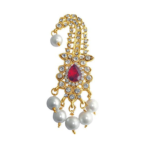 Kriaa Gold Plated White Austrian Stone Saree Pin Brooch - 1501385
