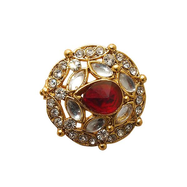 Kriaa Gold Plated White And Pink Austrian Stone Saree Pin Brooch - 1501386