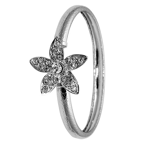 Kriaa Silver Plated Floral Design Kada