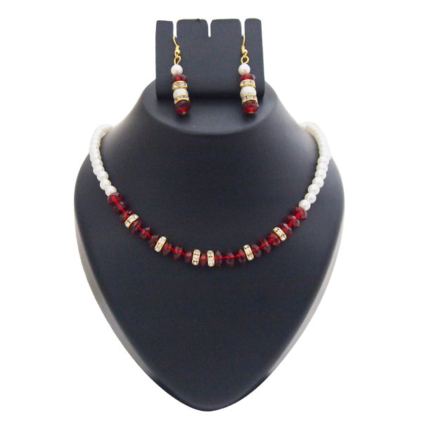 Kriaa Gold Plated White Maroon Pearl Set