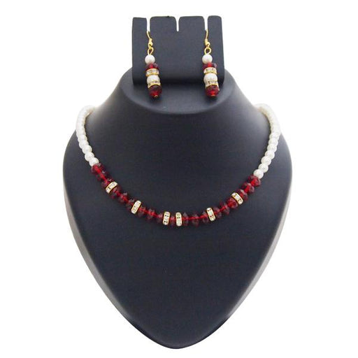 Kriaa Gold Plated White Maroon Pearl Set - 1501420 - AS
