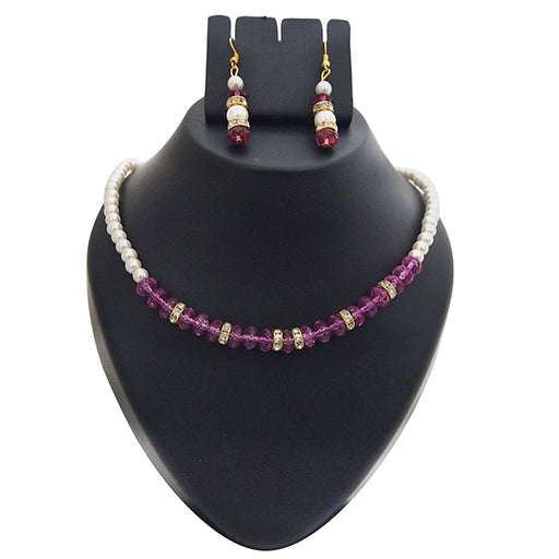 Kriaa Gold Plated White Purple Pearl Set