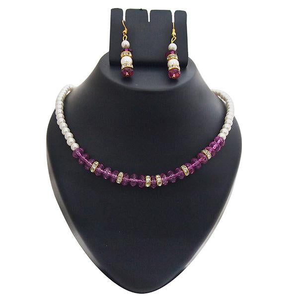 Kriaa Gold Plated White Purple Pearl Set - 1501421 - AS