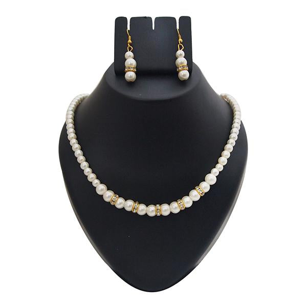 Kriaa Gold Plated White Pearl Necklace Set - 1501422 - AS