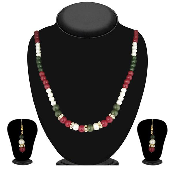 Soha Fashion Maroon And Green Pearl Necklace Set - NB
