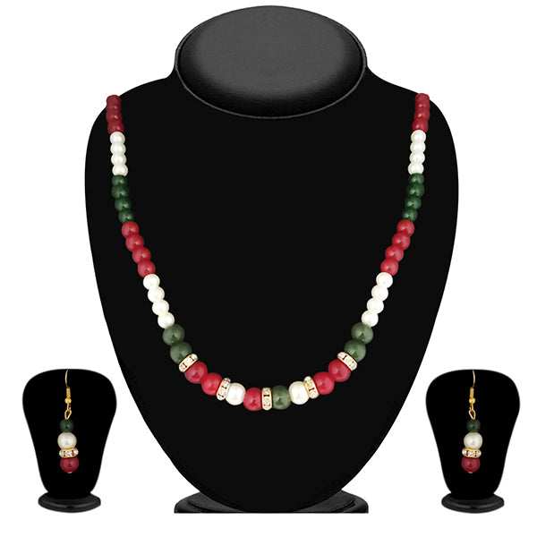 Soha Fashion Maroon And Green Pearl Necklace Set