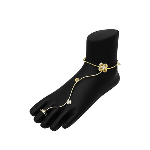 Urthn Gold Plated Brown Austrian Stone Anklet