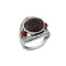 Urthn Rhodium Plated Maroon Resin Stone Ring