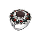 Urthn Rhodium Plated Maroon And Green Resin Stone Ring