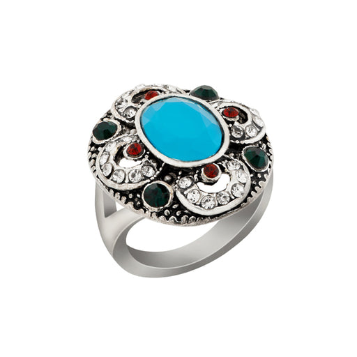 Urthn Multicolor Resin Stone Rhodium Plated Ring