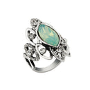 Urthn Green Resin Stone Rhodium Plated Ring