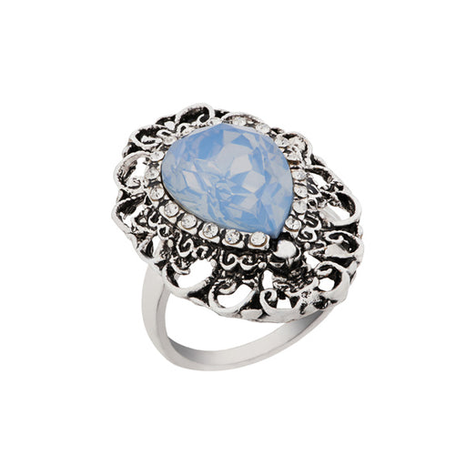 Urthn Silver Plated Blue Stone Ring