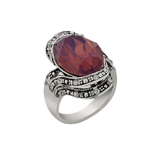 Urthn Brown Stone Rhodium Plated Ring