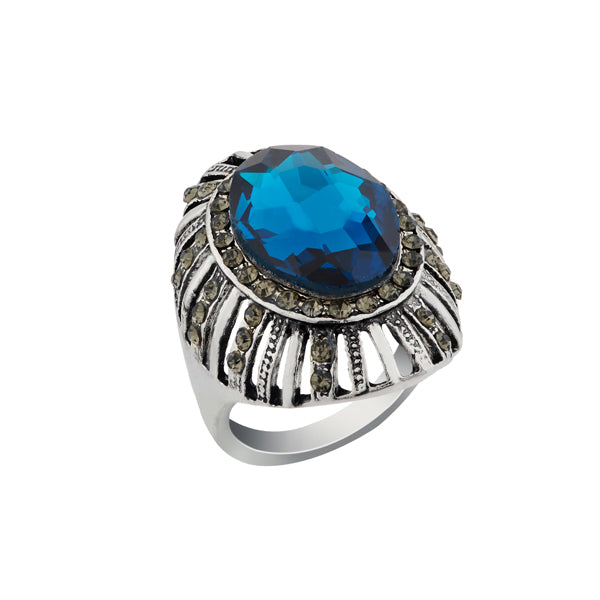 Urthn Rhodium Plated Blue Resin Stone Ring
