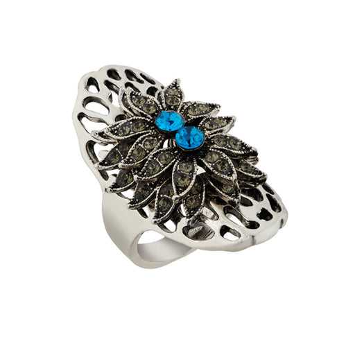 Urthn Rhodium Plated Blue Stone Ring