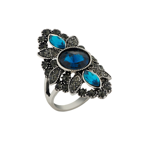 Urthn Blue Stone Silver Plated Ring