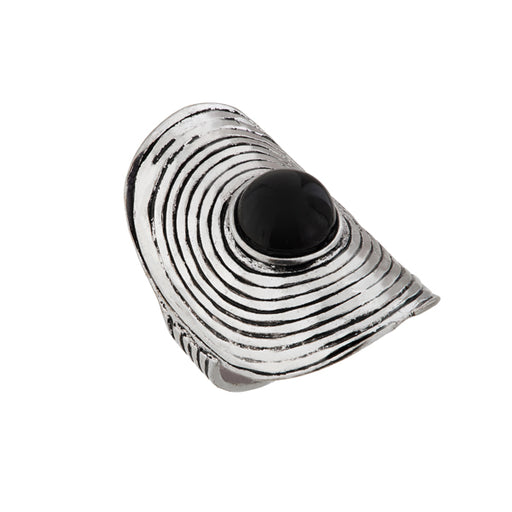 Urthn Silver Plated Black Stone Ring