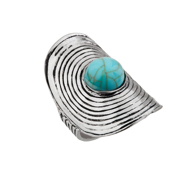 Urthn Blue Gems Stone Silver Plated Ring