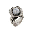 Urthn Silver Plated White Stone Ring
