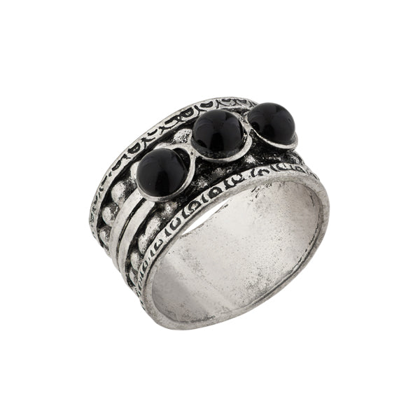Urthn Rhodium Plated Black Stone Ring