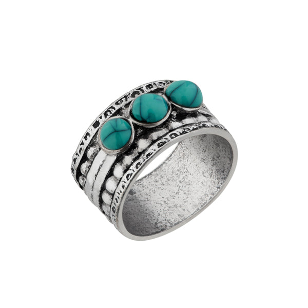 Urthn Rhodium Plated Green Gems Stone Ring