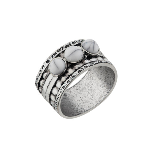 Urthn White Gems Stone Rhodium Plated Ring