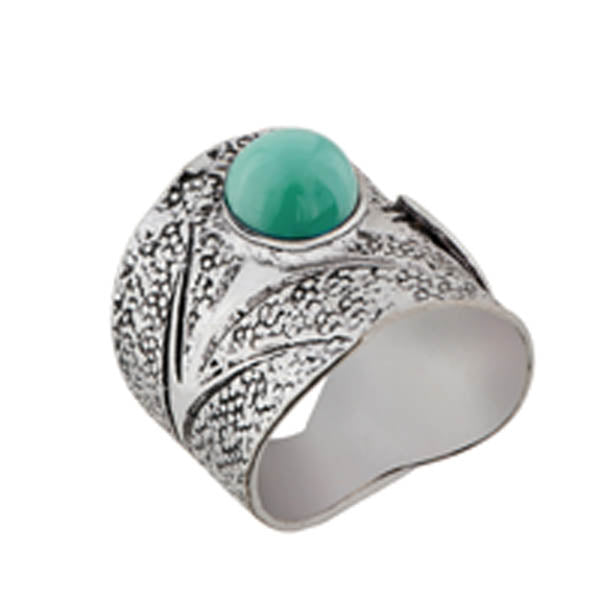 Urthn Rhodium Plated Green Stone Ring