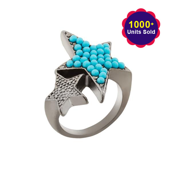 Urthn Rhodium Plated Blue Stone Star Shape Ring