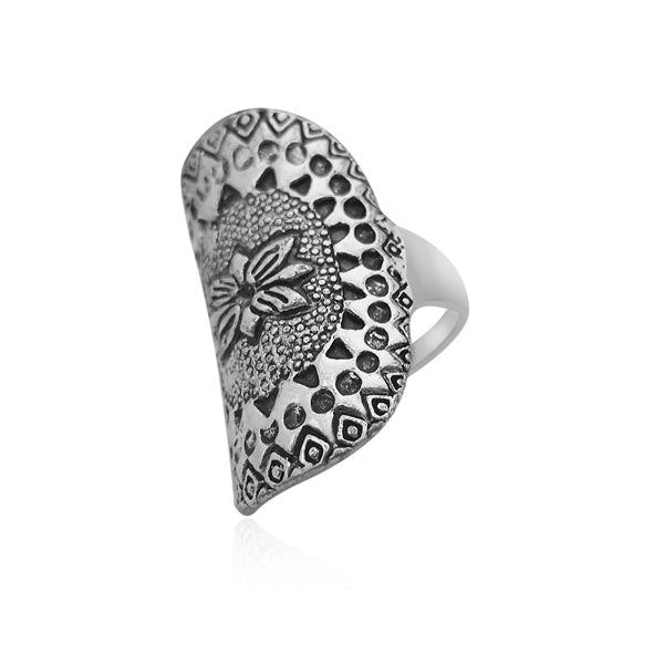 Urthn Rhodium Plated Finger Ring