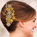 Apurva Pearls Floral Design Gold Plated Hair Brooch