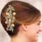 Apurva Pearls Floral Design Stone Gold Plated Hair Brooch