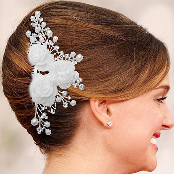 Apurva Pearls Floral Design Stone Silver Plated Hair Brooch