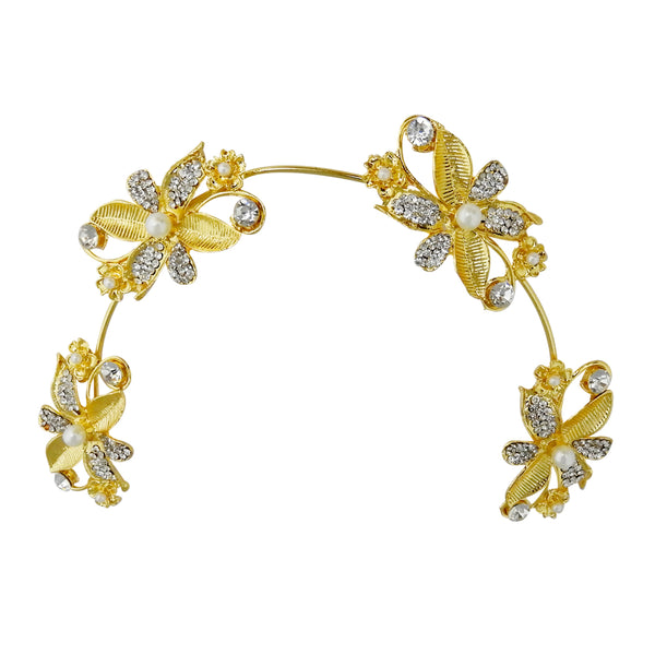 Apurva Pearls Stone Gold Plated Floral Hair Brooch