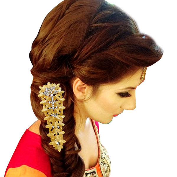 Apurva Pearls Leaf Design Gold Plated Hair Brooch
