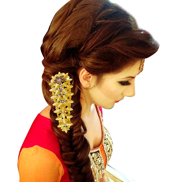 Apurva Pearls Austrian Stone Gold Plated Hair Brooch