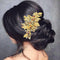 Apurva Pearls Leaf Design Stone Gold Plated Hair Brooch