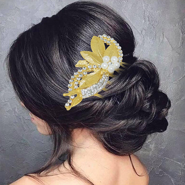 Apurva Pearls Stone Leaf Design Gold Plated Hair Brooch