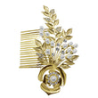 Apurva Pearls Stone Pearl Gold Plated Hair Brooch