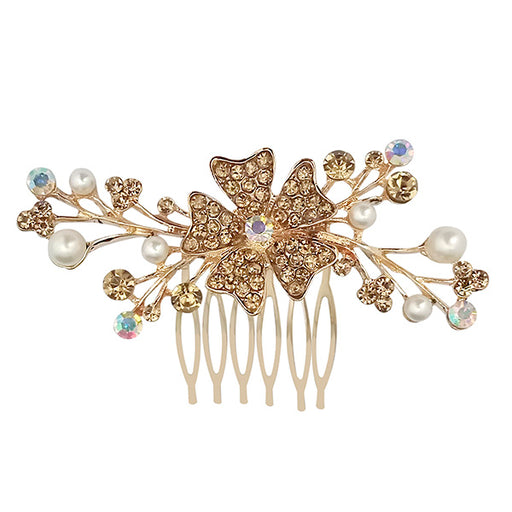 Apurva Pearls Gold Plated Austrian Stone Pearl Hair Brooch