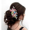 Apurva Pearls Multi Austrian Stone Gold Plated Floral Hair Brooch