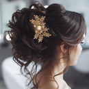 Apurva Pearls Brown Austrian Stone Gold Plated Hair Brooch