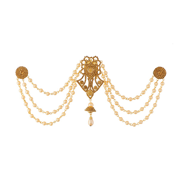 Apurva Pearls Pearl Stone Gold Plated Hair Brooch
