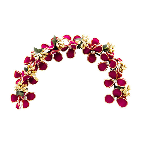 Apurva Pearl Pink And Green Floral Design Hair Brooch