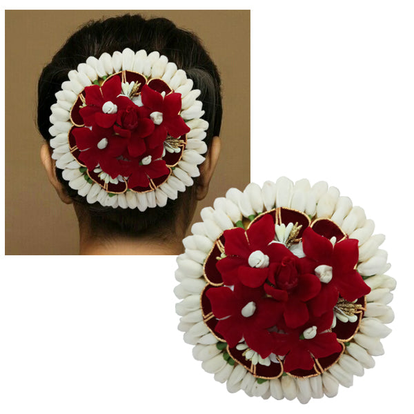 Apurva Pearls Maroon Floral Design Hair Brooch