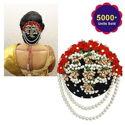 Apurva Pearls Multi And Pearl Floral Design Hair Brooch